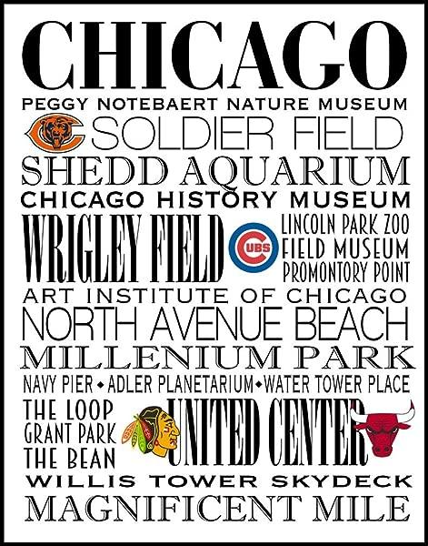 芝加哥地铁艺术印刷中心城市的运动队 11X14