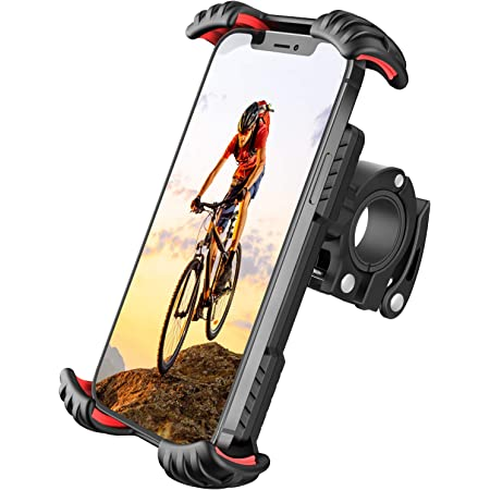 Floveme Motorrad Handyhalterung Fahrrad Handyhalter Hüllenfreundlich Handy Halterung Fahrradlenker Universal 360 Drehung Fahrradhalterung Für 4 7 Bis 7 Zoll Smartphone Rot Elektronik