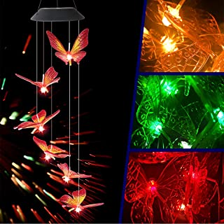 Jaycomey Wind Chimes Outdoor Solar,Mobile Waterproof Color Changing Butterfly Wind Chimes for Yard Home Party Night Garden...