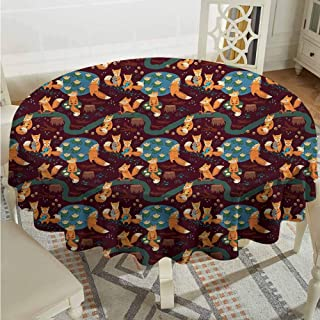 Lauren Russell Summer Round Tablecloth Fox Small Forest Animals Hunting Meditating and Eating in The Jungle with Ponds Tree Trunks Multicolor Dinning Tabletop Decoration Diameter 70