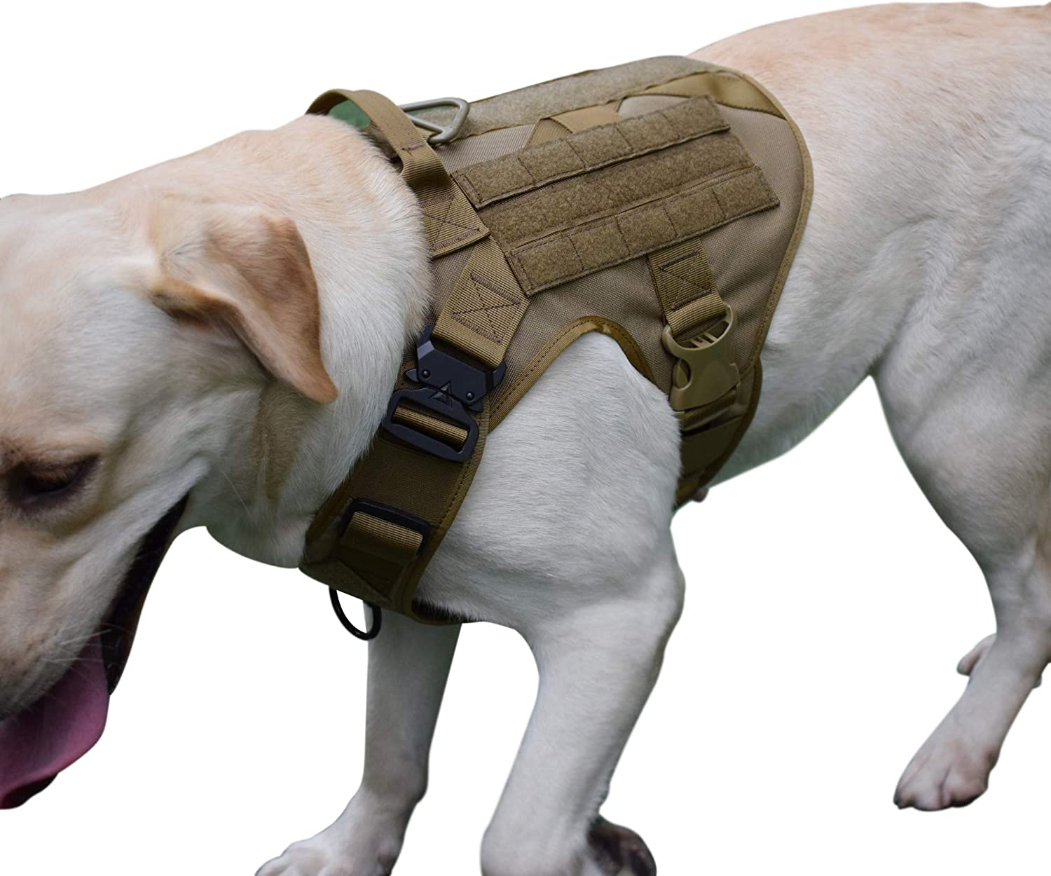 SHI RUI WaterResistant Tactical Military K9 Dog Harness Vest Walking Hiking Hunting MOLLE Training Harness for Service Dog (L, Tan)