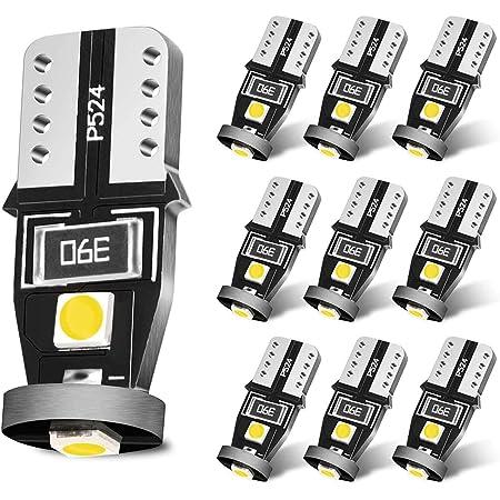 SEALIGHT ポジションランプ ナンバー灯 ルームランプ T10 LED ホワイトバルブ 6600K 12V 2W 高輝度 無極性 3030LEDチップ搭載 車検対応 50000時間寿命 2年保証 (10個入)