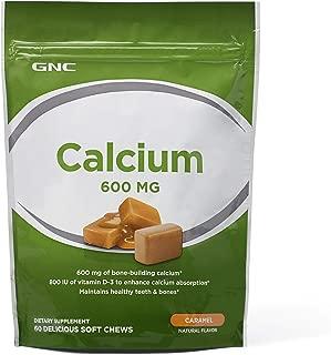 GNC Calcium 600 MG Caramel, 60 Soft Chews, Maintains Healthy Teeth and Bones