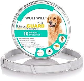WOLFWILL Collar de Pulgas y Garrapatas para Perro,Acción Prolongada 10 Meses de Protección y Prevención contra Pulgas Garr...