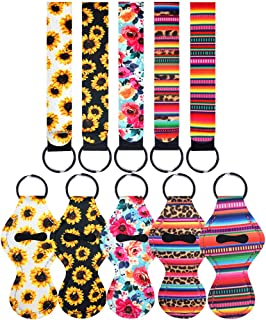 Chapstick Holder Keychains Neoprene Lipstick Holder Keychain with Wristlet Lanyard