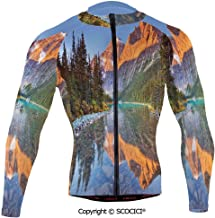 Cycling Jersey Long Sleeves Men,Canadian Mountain Range on Edith Cavell Lake Pas