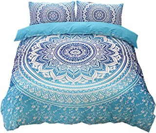 NTBED Bohemian Duvet Cover Set 3 Pieces (1 Comforter Cover+2 Pillowcases) Ethnic Exotic Boho Mandala Chic Medallion Pattern Printed Bedding Sets with Zipper Closure (Blue, Queen(No Comforter))