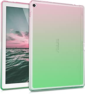 kwmobile Funda Compatible con ASUS ZenPad 10 (Z300) - Carcasa Trasera para Tablet de TPU - Bicolor Rosa Fucsia/Verde/Transparente