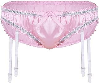 YiZYiF Mens Sissy Pouch Bikini Briefs Satin Frilly Short Panties Underwear with Plastic Garters