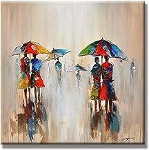 painting of people walking in the rain