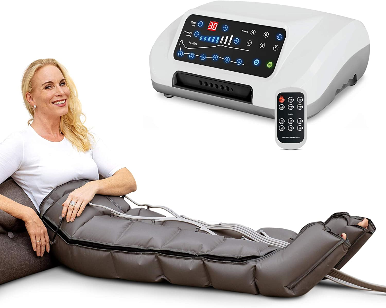 Venen Engel ® 6 Premium aparato de masajes con pantalones, 6 cámaras de aire desactivables, tiempo y presión fáciles de configurar, 6 programas de masajes, masaje sin interrupciones