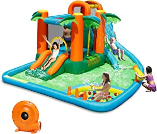 Costzon Inflatable Bounce House, 7 in 1 Jungle Jump Bounce Pool with Two Slides, Climbing Wall, Basketball Rim, Splash Pool, Water Cannon, Including Repairing Kit, Stakes, Ocean Ball, 780W Air Blower