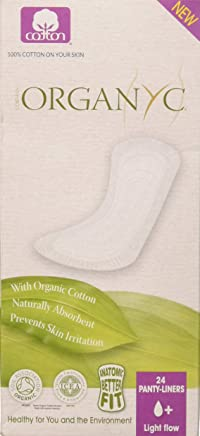 Organyc 100% organic cotton panty liners for sensitive skin, light plus, flat packed 24 Count
