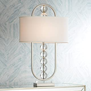 Wylson Modern Table Lamp Brushed Steel Metal Crystal Globes White Oval Shade for Living Room Family Bedroom - Possini Euro Design