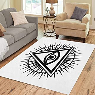 Semtomn Area Rug 5' X 7' All Seeing Eye of God The Providence Omniscience Luminous Home Decor Collection Floor Rugs Carpet for Living Room Bedroom Dining Room