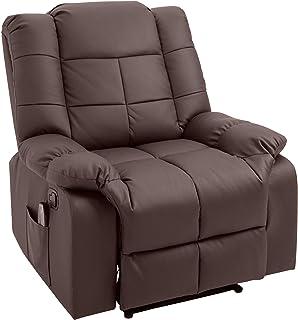 HOMCOM Massagesessel, Fernsehsessel, Relaxsessel mit Massagefunktion, Heizfunktion, Liegefunktion, PU-Leder+MDF+Metall+Schaumstoff, Braun, 90 x 97 x 99 cm