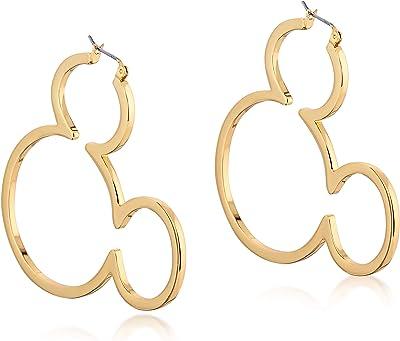 Disney Couture - Orecchini a cerchio Kingdom Topolino 90 anni, placcati oro