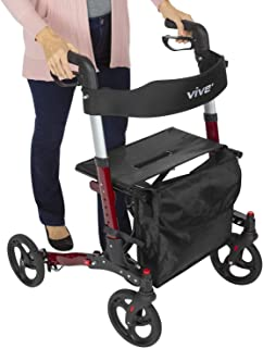 Vive Folding Rollator Walker - 4 Wheel Medical Rolling Walker with Seat & Bag - Mobility Aid for Adult, Senior, Elderly & Handicap - Aluminum Transport Chair (Red)
