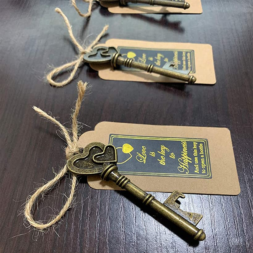 60 PCS Key Bottle Openers,Vintage Skeleton Key Bottle Opener,Skeleton Key Bottle Openers Wedding Favors Antique Rustic Decoration with Escort Tag Card Quoted