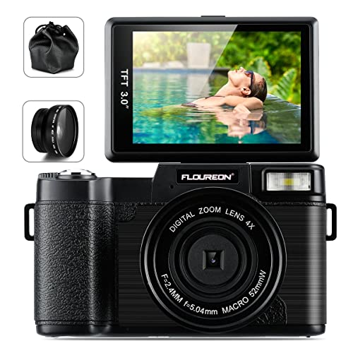 FLOUREON Camcorder Digital Camera DV 3.0 Inch Screen Full HD 1080P 24.0 Megapixels 4X Digital Zoom Retractable Flash Light with Wide Lens and Two Battery (Black)