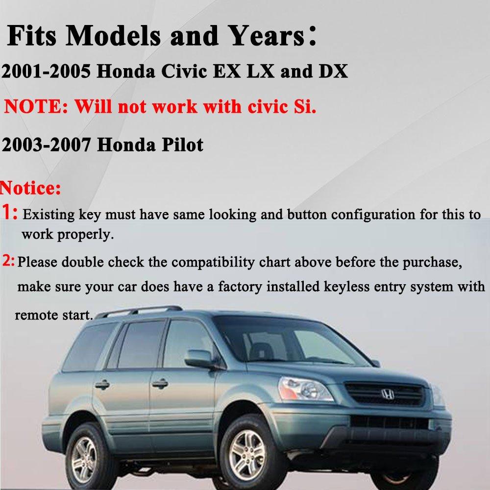 Key Fob Compatible with 2001 2002 2003 2004 2005 Honda Civic EX LX ...