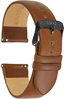 20mm, 22mm Men's Leather Watch Band with Quick Release Pin - Vegetable Tanned Leather Watch Band Strap - Black Buckle, Easy to Switch, No Tools Needed, Italian Leather Watch Band