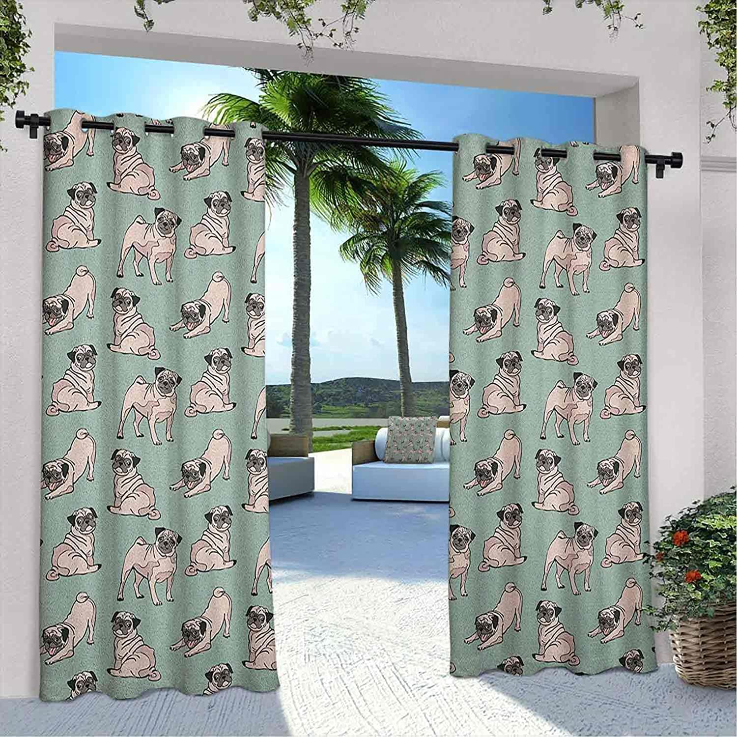 Outdoor San Francisco Max 81% OFF Mall Pavilion Pug Curtain Dogs with States Various S Sitting