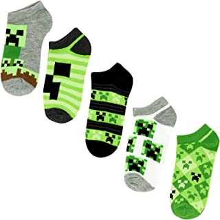 Minecraft Boys No Show Socks - Minecraft by Mojang - Kids 5-Pairs of Socks Set