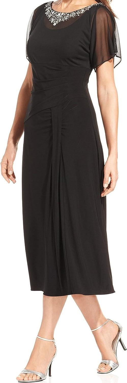 Alex Evenings Women's Embellished Neck Draped Jersey Dress (6, Black)