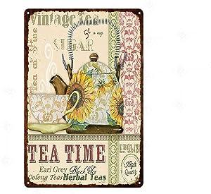 Vintage Metal Sign Tea Time Retro Poster Plaque Tin Sign Wall Decor for Kitchen Bar Pub Farm House 12x8inch