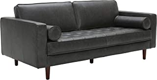 Amazon Brand – Rivet Aiden Mid-Century Leather Sofa with Tapered Wood Legs, 74W, Black