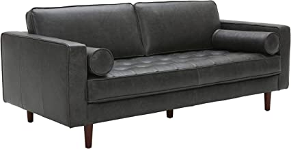 Rivet Aiden Mid-Century Leather Sofa with Tapered Wood Legs, 74