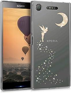 kwmobile Funda para Sony Xperia XZ1 - Carcasa Protectora de [TPU] con diseño de Hada Brillante en [Oro Rosa/Transparente]