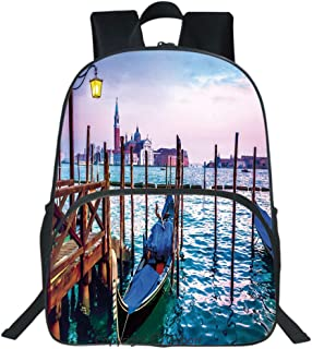 Oobon Kids Toddler School Waterproof 3D Cartoon Backpack, Dreamy Evening View of Famous Italian City Architecture Water and Gondolas, Fits 14 Inch Laptop