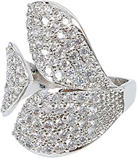 MOONSTONE Fashion Ring For Women Stunning Micro Pave Crystal Three Leaves Embellished, Adjustable Size