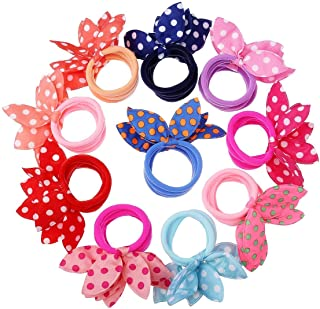 FAMEZA Girl's Rabbit Ear Hair Tie Rubber Bands Style Ponytail Holder (Multicolour) -24 Pieces