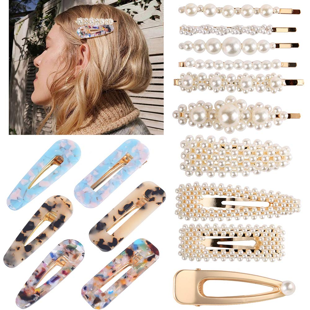 Souarts 16PCS Hair Clips Resin Hair Clip Pearl Hair Clip Acrylic Alligator Artificial Bridal Hair Barrettes Geometric Hair Styling Pins for Women, Ladies, Girls 1 Set (multicolor)