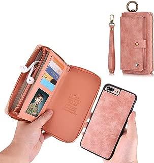 iPhone 7 Plus Wallet Case - JAZ Zipper Purse Detachable Magnetic14 Card Slots Card Slots Money Pocket Clutch Leather Wallet Case for iPhone 8 Plus/7 Plus Rose gold
