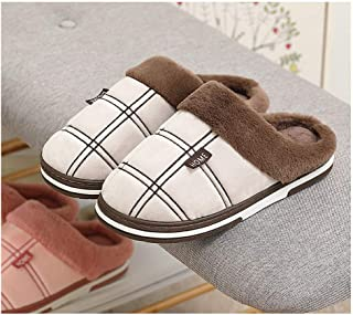 Men's Large Size Plush Fleece Slippers, Anti-Slip House Slippers, Autumn Winter Breathable Cotton Slippers,Khaki,48/49