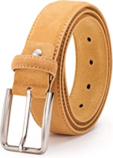 Men's Suede Leather Belt with prong Zinc buckle, 100% Original Leather, Trim to Fit