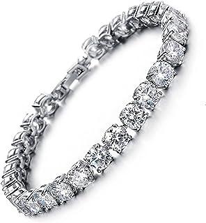 MEETYOO Tennis Bracelet with Swarovski Elements Crystal Jewelry Women Lady Zirconia Platinum Plated Bangle for her
