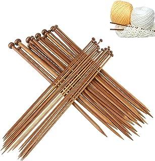 Dokpav 36Pcs 18 Tamaños Agujas de Tejer de Bambú (2.0mm a 10.0mm), Agujas de Madera, Agujas de Punto para Suéter, Proyecto...