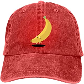 LeoCap Yellow Ripe Banana Cartoon Baseball Cap Unisex Washed Cotton Denim Hat Adjustable Caps Cowboy Hats