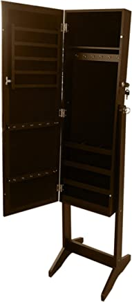 CLASS Floor Jewelry Cabinet with Full Length Mirror, Brown, 41 x 18 x 110 cm