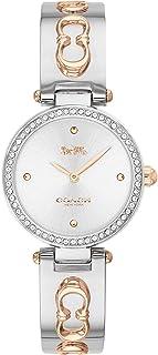 ساعة بمينا فضي وابيض وسوار من الستانلس ستيل بلونين للنساء من كوتش- 14503286