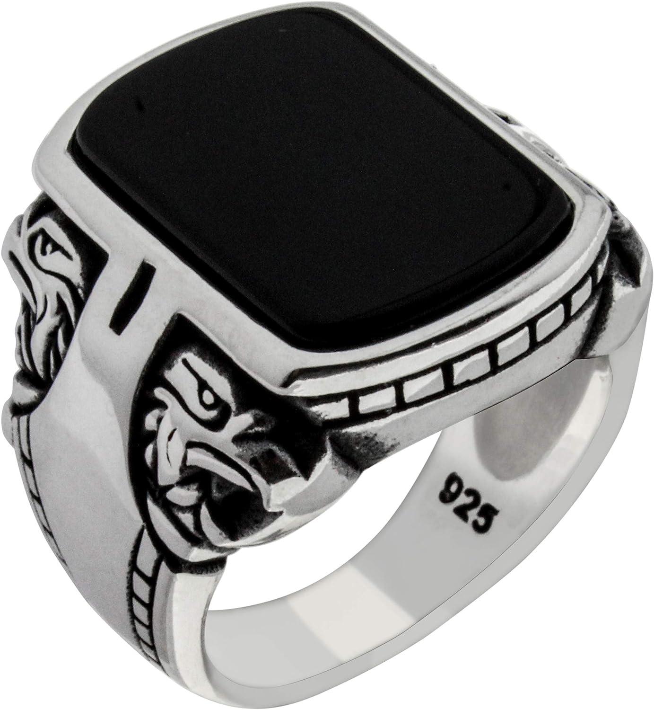 Solid 925 Sterling Silver Onyx Handmade Desi Turkish Eagle Stone Topics Las Vegas Mall on TV