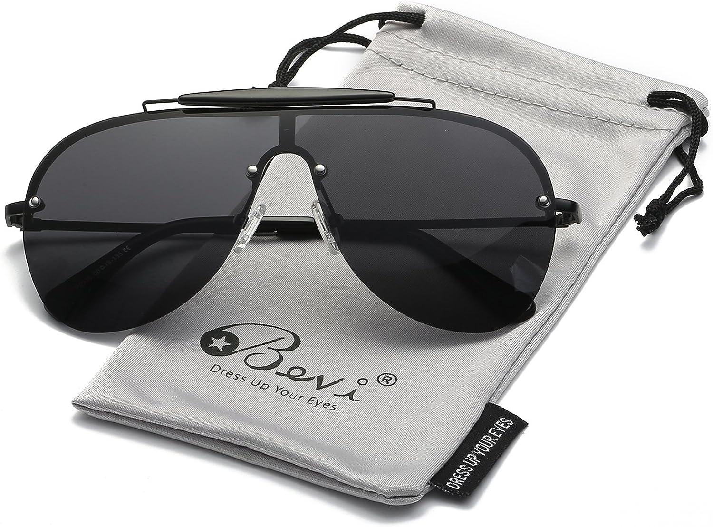Bevi Polarized Aviator Sunglasses for Men and Women Fashion Designer Large Shied