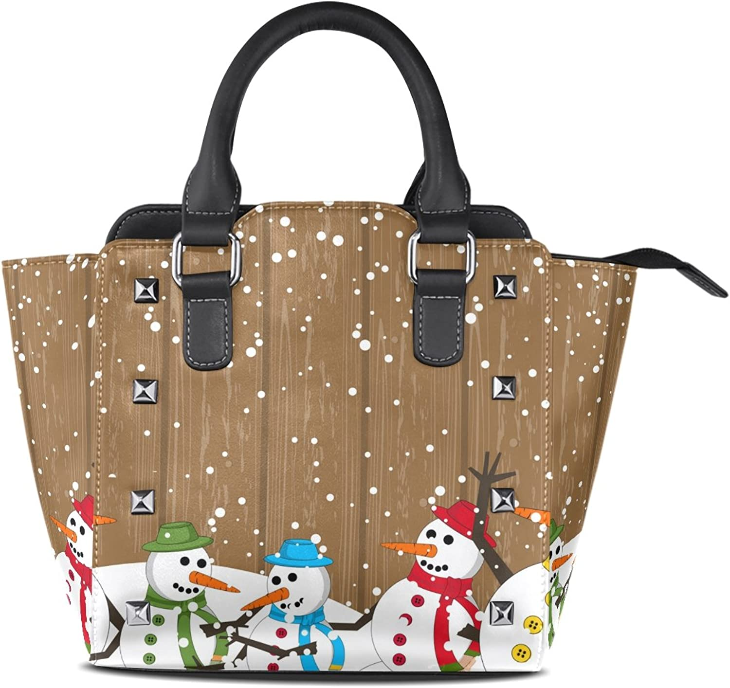 Sunlome Merry Christmas colorful Snowman Print Handbags Women's PU Leather Top-Handle Shoulder Bags