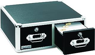 Vaultz Locking 4 x 6 Index Card Cabinet, Double Drawer, Black (VZ01395)