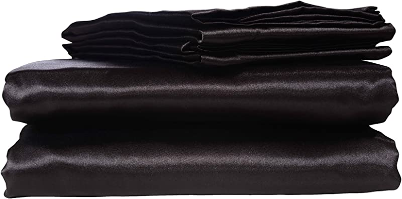 HONEYMOON HOME FASHIONS Ultra Luxury And Soft Satin Queen Bed Sheet Set Black